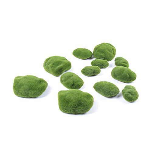 I3C Dekorative Steine 30 Stück Grüne Moosbälle Künstliche Moos Steine Künstliche Steine Kunststeine aus 3 verschiedener Größe für Garten, Terrarien, Aquarium, Blumentopf, Handwerk