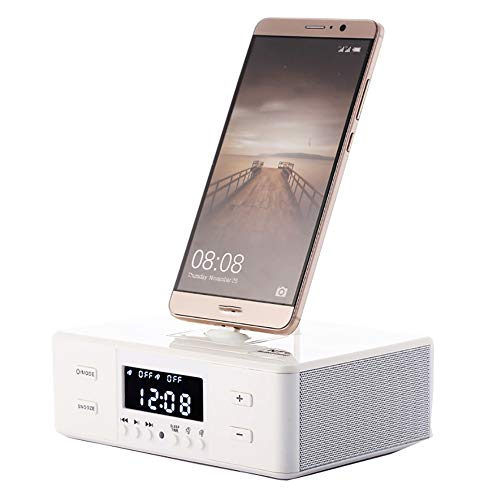 Reloj Despertador Altavoz Bluetooth Junto A La Cama con Cargador USB Y Carga InaláMbrica Qi, EstacióN De Carga InaláMbrica Qi de Carga 3 En 1 para iPhone 12, XR, XS, X, 8, Galaxy S10, S9, S8