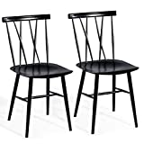 COSTWAY Dining Chair, Chic Bistro Cafe Side Chair Side Chair for Indoor, Modern Metal Chair with Backrest Bar Chair with Sturdy Metal Construction Cafe Chair Barstool Set of 2 (Height 17'')
