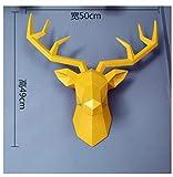 SCHS Tamaño Grande 4 Colores Disponibles Nueva geometría 3D Animal Cabeza de Ciervo Decoración Cabeza Resina Adorno de Pared Regalos creativos, L Amarillo