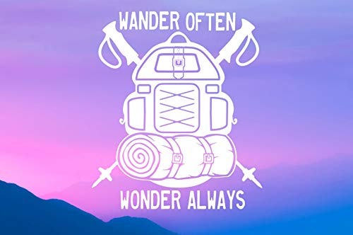 43LenaJon Funny Vinyl Window Decal Sticker Wander Often Backpack Vinyl Decal Vinyl Sticker, Car Window Decal, Cup Decal, Decal, Adventure, Explore, Hiking, Camping Car waterproof sticker