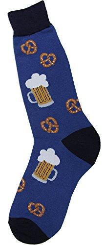 Foot Traffic, Men's Beverage-Themed Socks, Pretzels & Beer (Shoe Sizes 7-12)