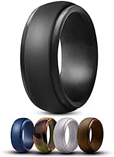 Silicone Rubber Wedding Ring for Men- 5 Pack Step Edge Comfortable Low Profile Design. Black, Brown, Camo, Blue & Silver.