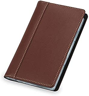 Samsill Unisex Contrast Stitch Leather Business Card Holder, Organizer Book Holds 120 Cards, Tan & Brown