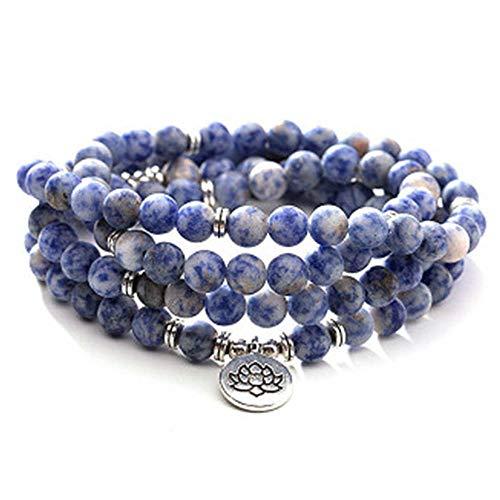 108 Natural Pulseras de Piedra de Lunares Azules, Collar de árbol de la Vida con Colgante de Buda de Loto Pulsera de Yoga Yoga Bracelet - Lotus Pendant