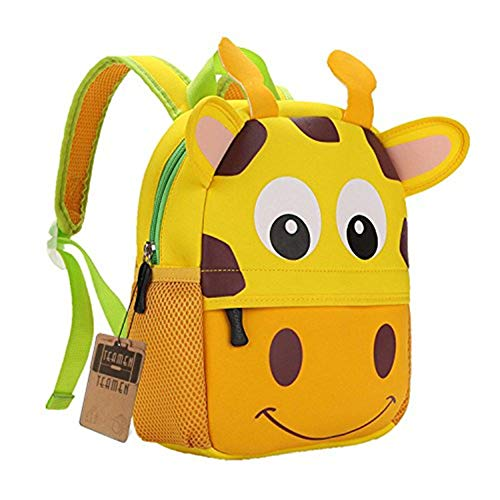Children's Backpack, TEAMEN Toddler Kids School Bag, Animal Design, Kinder Racksack for 2-8 Years Old(Giraffe)
