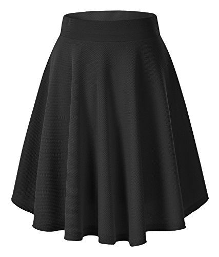 Urban GoCo Donna Moda Svasata Mini Gonna da Pattinatrice Versatile Elastica Solida Colore Gonna Nero-Lungo L