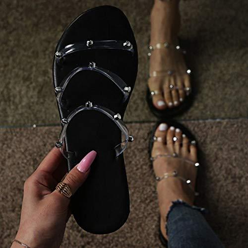 Sandalias de Punta Abierta Chanclas de Color para Mujer Zapatillas de Verano Cordones Sandalias Antideslizantes Zapatos de Playa Cómodos,Negro,38