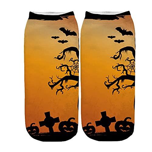 YWLINK Calcetines Halloween Calcetines Cortos Mujer 3D ImpresióN Calcetines Tobilleros para Mujer Y Hombre Unisex Suave Calcetines De AlgodóN Antideslizantes Respirable Calcetines (C4, M)