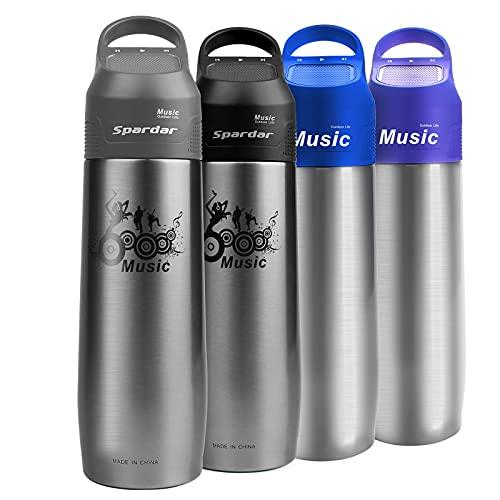Spardar Botella de agua Bluetooth con lazo de transporte, botella portátil con altavoz, botella de agua de acero inoxidable aislada de doble pared con una tapa de altavoz 750 ml