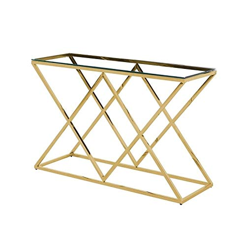Best Master Mishie Angled Stainless Steel Clear Glass Console Table in Gold