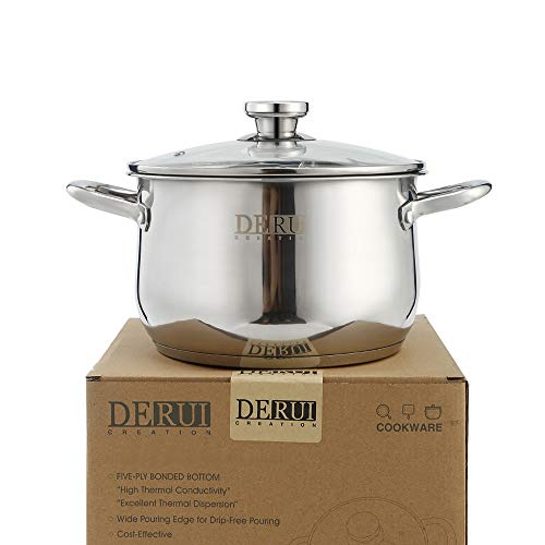 Stock Pot with Lids,DERUI CREATION 4 Quart Stainless Steel Stockpots for Cooking Soup Pots
