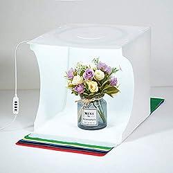 Fotolichtbox Tragbares Fotostudio Lichtzelt Schießzelt-Set Faltbares Kleinprodukt Schmuck-Fotokabinen-Set Weißer Soft Cube mit umschaltbaren 3-Farben-LED-Kreislichtern (12 x 12 x 12inch (LxHxW).