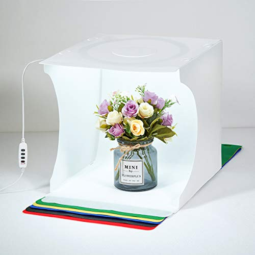 UNIQUE BRIGHT Photo Light-box Studio fotografico portatile 30 * 30cm luminosa Kit di tiro Gioielli pieghevoli Cabina fotografica Bianco Cubo morbido commutabile 3 colori LED Luci circolari