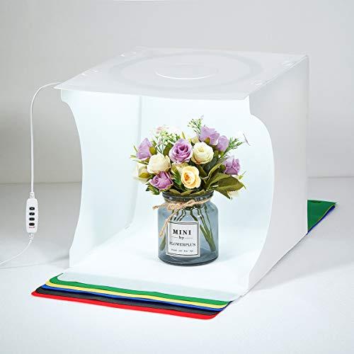 Photo Light-Box Portable Photography Studio Light 30 * 30cm Kit de Disparo para pequeños Productos Joyas Cabina Plegable Cubo Suave Blanco con 3 Colores LED Luces Circulares
