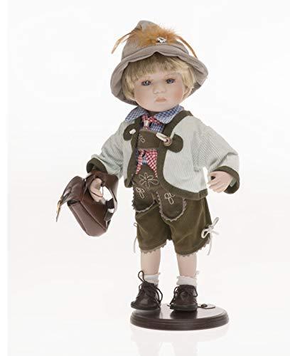 Sammlerpuppe, Porzellanpuppe, Trachtenpuppe Tracht Puppe Junge mit Lederhose 30cm 122480