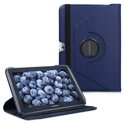 kwmobile Hülle kompatibel mit Samsung Galaxy Note 10.1 N8000 / N8010-360° Tablet Schutzhülle Cover Hülle Dunkelblau