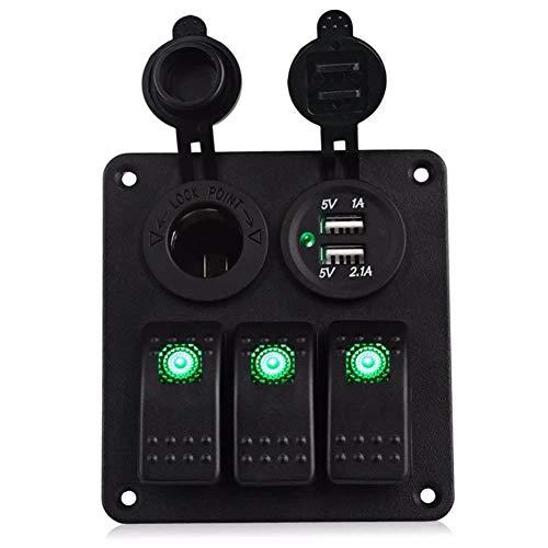 KAOLALI Panel de interruptor basculante LED de 3 bandas con doble puerto de cargador USB impermeable para coche RV camión barco Marine Rocker Switch Panel