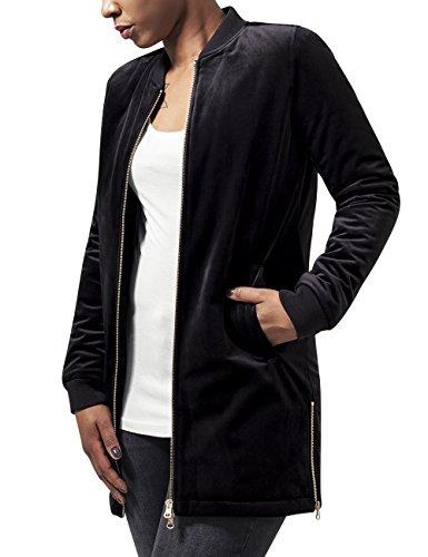 Urban Classics Damen Ladies Long Velvet Jacket Jacke, Schwarz (Black 7), 42 (Herstellergröße: XL)