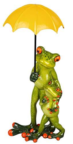 dekojohnson lustiges Deko-Froschpaar Vater mit Kind und gelben Regen-Schirm Tierfigur trendig witzig Kröte Lurch grasgrün gelb 17 cm groß