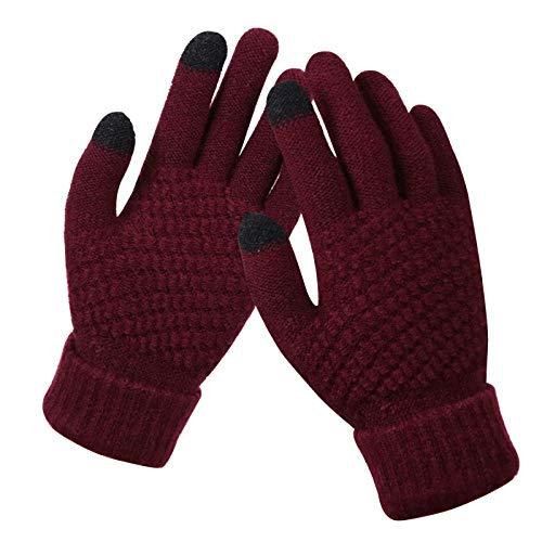 GBSTA Winter Gloves Winter Touch Screen Gloves For Women Men Warm Stretch knitted Mittens Imitation Full Finger Black White Gloves,Burgundy