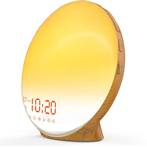 Wake Up Light Sunrise Alarm Clock for Kids, Heavy Sleepers, Bedroom, with Sunrise Simulation, Sleep Aid, Dual Alarms, FM Radio, Snooze, Nightlight, Daylight, 7 Colors, 7 Natural Sounds, Wood Color