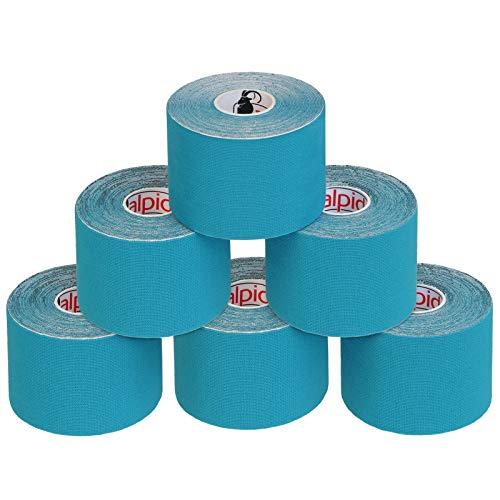 ALPIDEX 6 Rollen Kinesiologie Tape 5 m x 5 cm E-Book Anwendungsbroschüre Elastisches Tape Set, Farbe:hellblau