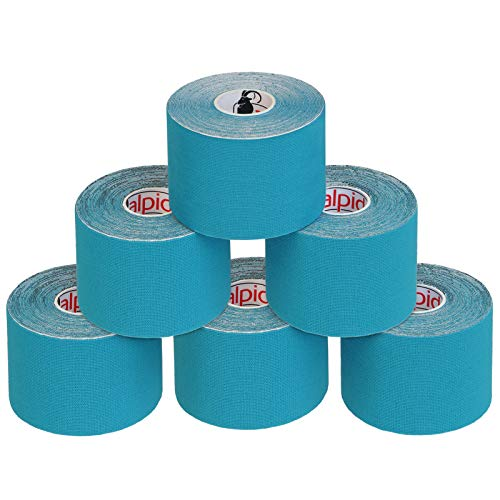 ALPIDEX Cinta Kinesiología Tape 5 m x 5 cm Cinta Muscular E- Book Ejemplos Aplicación, Color:azul claro, Cantidad:6 rollos