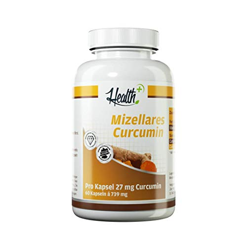 Health+ Mizellares Curcumine – 60 capsules, water- en vetoplosbare kurkuma-capsules, hoogwaardige curcuma-extract capsules, natuurlijk kurkuma-extract van de Curcuma-plant, Made in Germany
