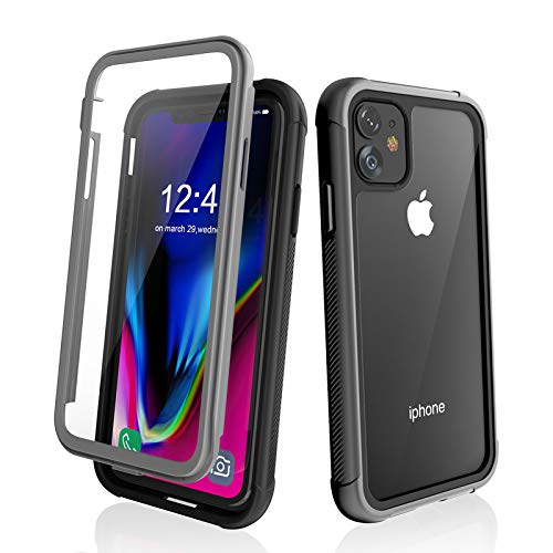 "iPhone 11 Clear Case Built-in Screen Protector Heavy Duty Impact Resistant Extreme Durable Anti-Drop Anti-Scratch Anti-Slip Shockproof Full Body Protective Case for iPhone 11 6.1"" Gray"