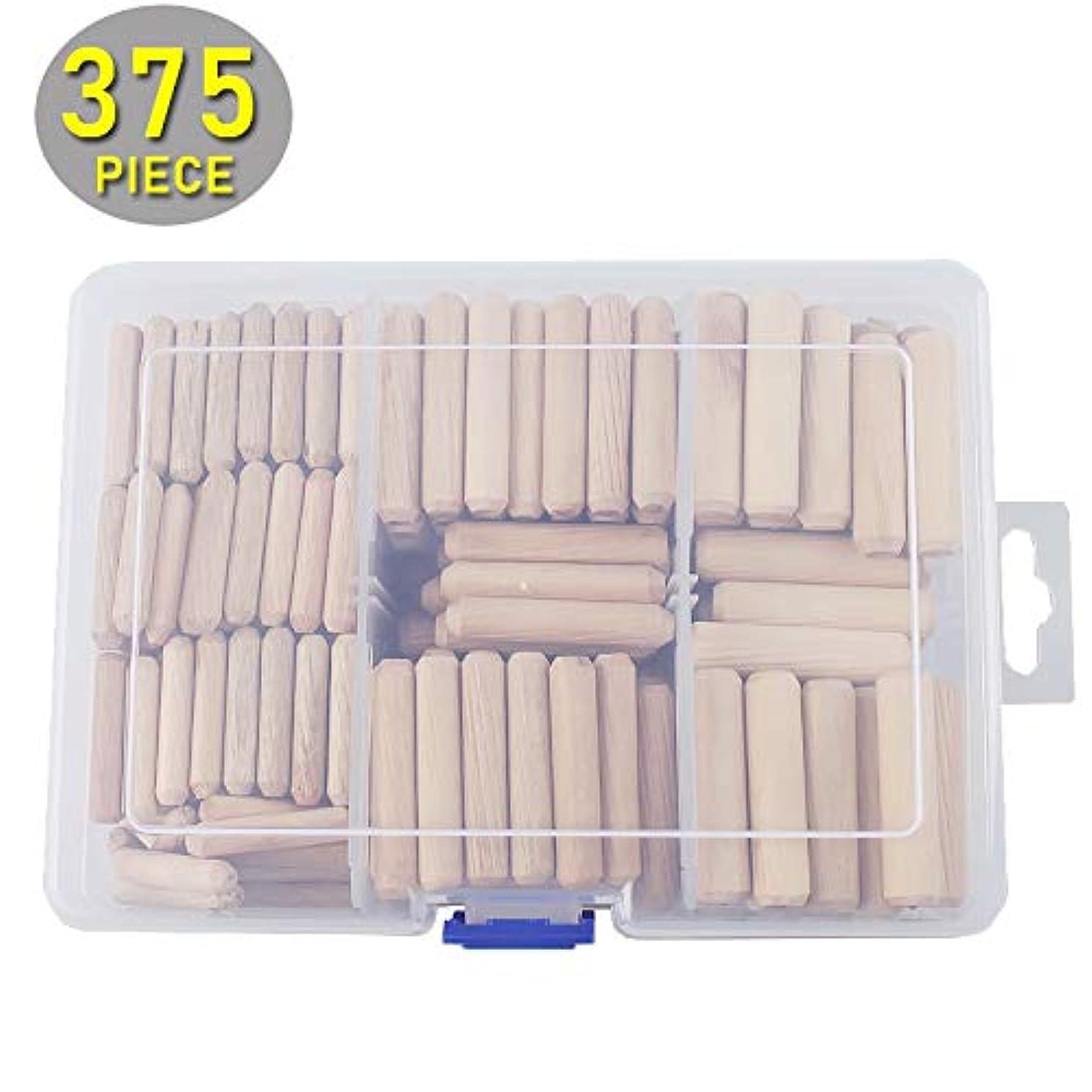 Ochoos 375pcs/set Assorted Fluted Wood Dowel Pins 6mm (1/4