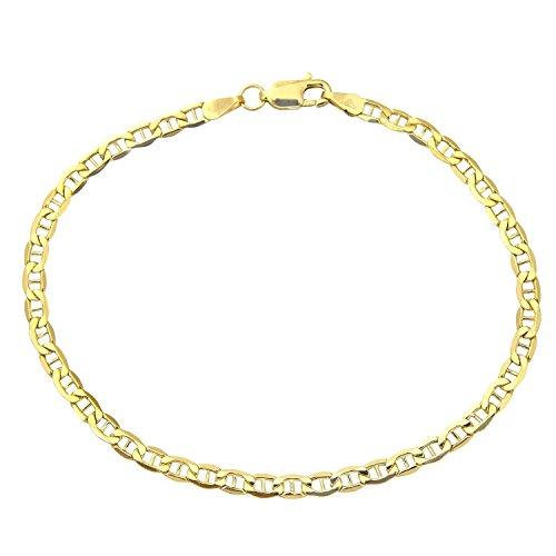 Armband 18 Karat 750 Gold Italienisch Flach Mariner Gelbgold Armkette Breite 3 mm (19)