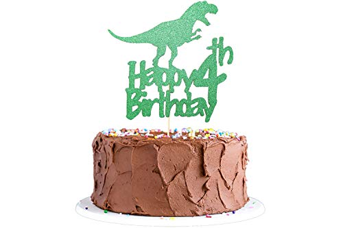 Dinosaur Cake Topper 4th Birthday, Glittery Happy 4th Birthday Dinosaur Cake Toppers for 4 Year Old Boys and Kids Roar Jurassic Park Dinosaur Themed Birthday Party Supplies Decorations