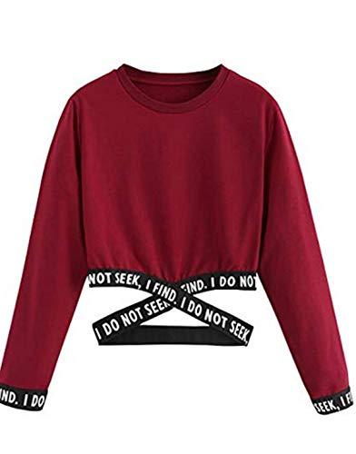 Bauchfreier Pulli Mädchen, Damen Bauchfrei Pullover Brief Drucken Casual Langarm Sweatshirt Kurz Sport Crop Tops Oberteile Sweatjacke Shirts Hemd Bluse (Rotwein, S)