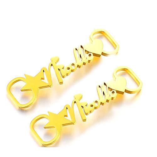 RWQIAN 1 par de Nombres Hebillas Personalizadas para Zapatos Adornos de Estrella a Corazón para Mujeres Hombres Accesorios Joyería Personalizada (Oro)