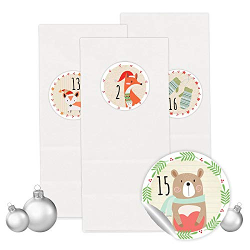 PaPIerDraCHeN Adventskalender Set - 24 Weiße Kraftpapiertüten mit 24 bunten Aufkleber Zahlen - zum Selbermachen - Adventskalender zum Befüllen - Mini Set 22 - von