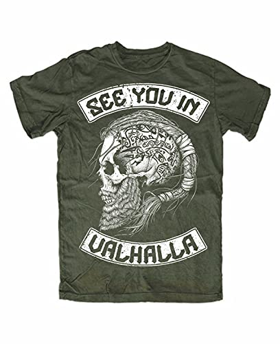 See You IN Valhalla T-Shirt Olive Front, Wolf of Odin, Berserker, Vikings, Ragnar