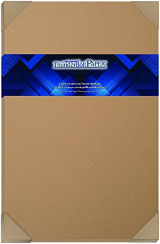 "50 Brown Kraft Fiber 80# Cover Paper Sheets - 11"" X 17"" (11X17 Inches) Tabloid