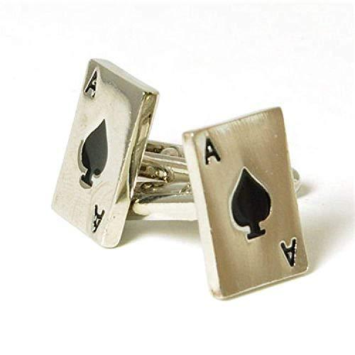 Jakob Strauss FJ807 - Boutons de Manchette Argentés en Forme de Carte à Jouer As de Pique
