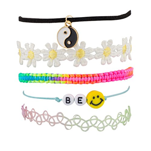 Lux Accessories Peace Be Happy Smile Rainbow Sunflower Floral Flower Woven Arm Candy Bracelet Set