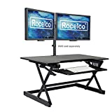 Rocelco 40' Large Height Adjustable Standing Desk Converter, Quick Sit Standup Dual Monitor Riser, Gas Spring Assist Computer Workstation, Retractable Keyboard Tray, (R DADRB-40), Black