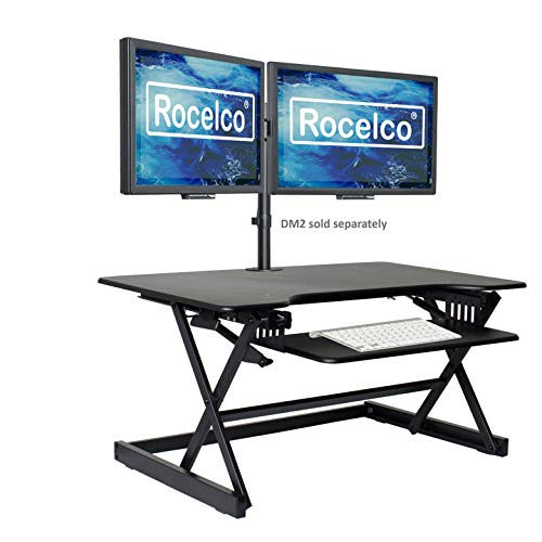 Rocelco 40' Large Height Adjustable Standing Desk Converter, Quick Sit Standup Dual Monitor Riser,...
