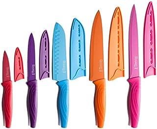 MICHELANGELO Kitchen Knife Set 10 Piece, High Carbon Stainless Steel Kitchen Knives Set, Knife Set for kitchen, Rainbow Knife Set, Colorful Knife Set- 5 Knives & 5 Knife Sheath Covers