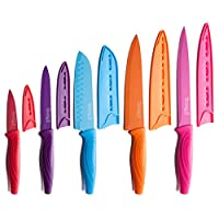 ESSENTIAL KNIVES SET FOR ANY KITCHEN - this 10 piece kitchen knife set includes 5 sharp colorful cooking knives and 5 matching knife covers. It provides best performance for cutting meat, fish, cheese, fruits, vegetables, breads and so on. Set includ...