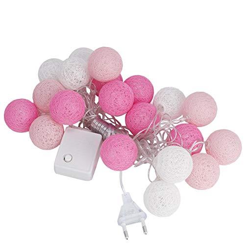 CHICIRIS Guirnalda de luces LED, 3,7 m, 20 bolas de alambre de algodón, cadena de luces LED, 8 modos para Navidad, Halloween, fiesta familiar (rosa)
