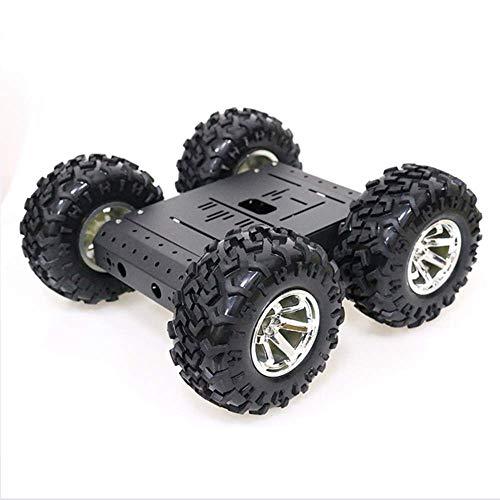ACC Vier Radantrieb intelligentem Roboter-Auto-Chassis-Kit-DIY-Roboter-Plattform 12V-hoher Drehmoment-Motor 130mm-Rad-DIY Nicht zusammengebauter Kompatibel mit Arduino, Metallmaterial,Rot