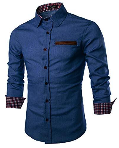 Yitrend Herren Denim Hemd Langarm Freizeit Blaue Shirt männer Cowboy-Style Jeanshemd