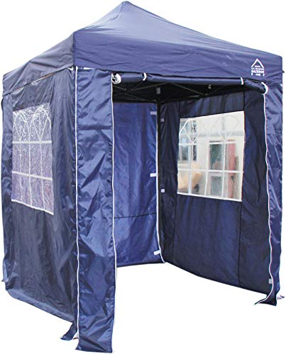 All Seasons Gazebos, Choice Of 5 Colours, 2x2m Heavy Duty, Fully Waterproof, Premium Pop Up Gazebo With 4 x Zip Up Side Panels, Carry Bag With Wheels and 4 x leg weight bags (Navy Blue)