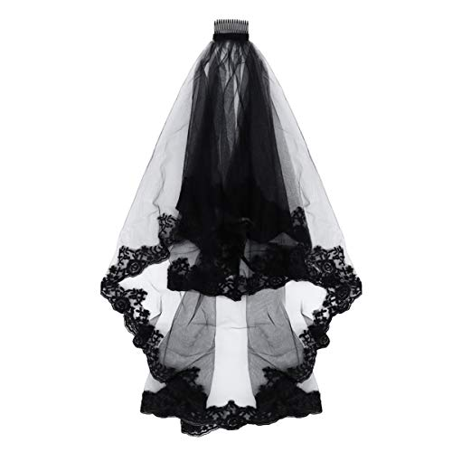 Beaupretty voile de mariée en dentelle noire mantille cathédrale tulle voile pure avec un peigne élégant épais double pont belle décoration halloween