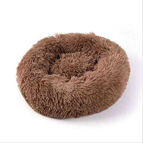 WUBS Pet bedPluche Super Soft Pet Bed Hond Kennel Ronde Huisdier Nest Winter Warm Slaapzak Kussen 70cm koffie